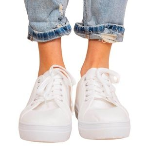 Top Moda White Platform Sneakers